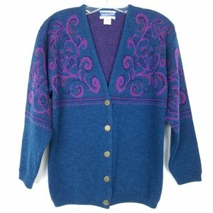 PENDLETON Sweater Teal Purple Wool Button Front